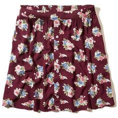 Hollister Rocky Point Skater Skirt (130 SEK) ❤ liked on Polyvore featuring skirts, mini skirts, burgundy floral, burgundy mini skirt, circle skirt, mini skater skirt, mini circle skirt and purple skirt