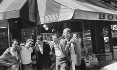 Legendary Beat writers outside City Lights in left to right: Bob Donlin, Neal Cassady, Allen Ginsberg, Robert LaVinge and Lawrence Ferlinghetti. City Lights Bookstore, Lawrence Ferlinghetti, Vintage Photo Booths, Allen Ginsberg, Poetry Foundation, Happy 60th Birthday, Beat Generation, Jack Kerouac, Beatnik