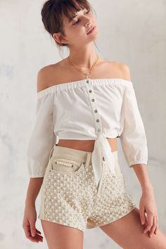 BDG Cindy Poplin Off-The-Shoulder Tie-Front Top - Urban Outfitters