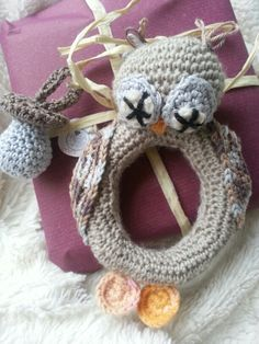 Crochet owl *-* rattle for baby