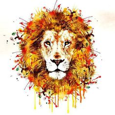 Awesome colorful watercolor lion's face. Style: Watercolor. Color: Colorful. Tags: Best, Amazing, Hipster, Great