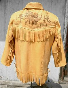 Native American Buckskin Pants for Men Mountain Man Clothing, Skins Clothing, Native American Clothing, Crochet Shirt, Fringe Jacket, Western Outfits, Vintage Leather, Mens Fashion, Western Jackets