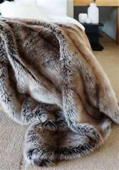 Grey Faux Fur Throw, Faux Fur Blanket, Fuzzy Blanket, Brown Leather Bed, Brown Sofa, Fur Bedding, Luxury Bedding, Sofa Throw, Throw Blankets