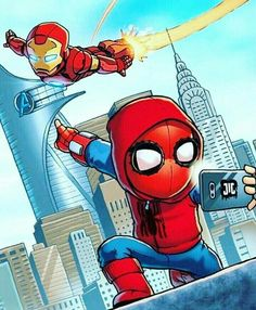 Marvel Drawing Chibi Iron Man and Spidey Marvel Avengers, Marvel Comics, Chibi Marvel, Avengers Cartoon, Marvel Cartoons, Marvel Heroes, Marvel Characters, Spiderman Art, Amazing Spiderman