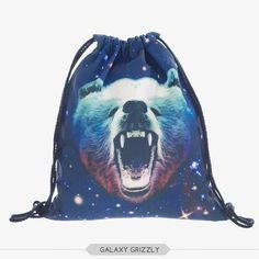 Who Cares Printing Backpack Galaxy Panda Mochila Feminina Women daily Shopping Casual Drawstring Bag Girl Edm Outfits, Light Up Shoes, String Bag, Rave Wear, Girls Bags, Dance The Night Away, Drawstring Backpack, Panda, 3d Printing