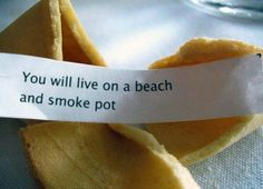 You will live on a beach and smoke pot