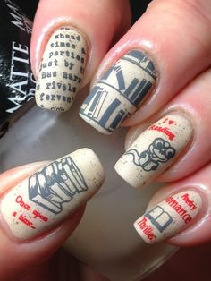 Nail art design is very important for women. There are many ways to decorate your nails with excellent nail art designs. Nowadays, a popular trend of nail design is newspaper nail art design. Newspaper nail art design is one of the simplest, fastest Get Nails, Dope Nails, Hair And Nails, Fancy Nails, Gorgeous Nails, Pretty Nails, Newspaper Nail Art, Book Nail Art, Nail Polish Art