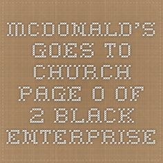 McDonald's Goes To Church - Page 0 of 2 - Black Enterprise