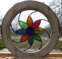 round victorian pin wheel daisey rondel leaded stained glass window #Victorian