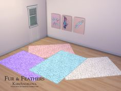 Fur rug comes in 4 colour variations. Feather canvas comes in 3.  Found in TSR Category 'Sims 4 Sets'