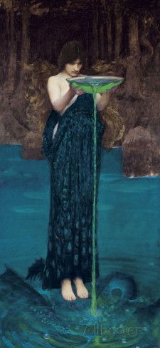 """""""Circe"""" by John William Waterhouse, 1892 hauntingly depicts the mythological sorceress of Greek literature spitefully offering an enchanted potion. A member of the Royal Academy, Waterhouse (1849 – 1917) merged Victorian narrative with romantic Pre-Raphaelite fantasy in his art. Waterhouse's work was strongly influenced by classical mythology, history and literature, and the femme fatale is a common theme in many of the 200 works he created, as well as women burdened by misfortune."""