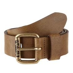 Brown leather roller buckle belt