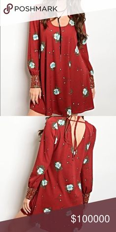 Burgundy/rust tunic/dress with Aqua flowers I am in love with this piece! Scoop neck with tie back- gold tone beadwork on cuffs! Stunning color contrast - beautiful fit! Dresses