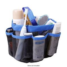 Quick-Drying Travel-Size Mesh Shower Caddy with 8 Pockets