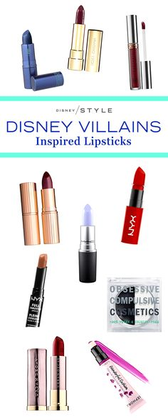 10 lipsticks inspired by Disney Villains   bold lipsticks for summer   [ https://style.disney.com/beauty/2016/06/30/lipsticks-disney-villains/#scar ]
