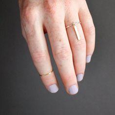 Minimalist Silver & Brass Dangle Ring / thin by SOFTGOLDSTUDIO, $32.00
