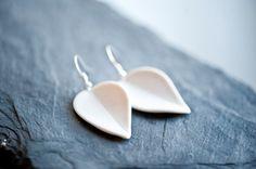 Porcelain Petals  White Porcelain Earrings   by PorcelainAndStone
