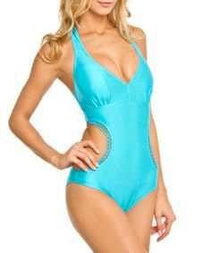 ba8220e825 Loving this Envya Swimwear Blue Shimmer Crochet-Trim Monokini on  zulily!   zulilyfinds