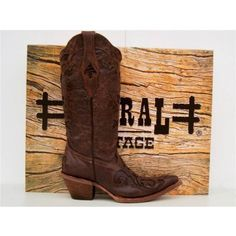 Corral Womens Brown Goatskin with Lizard Inlay Boots