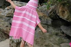 Poncho for the beach in Turkish towel fabric - hardtofind.