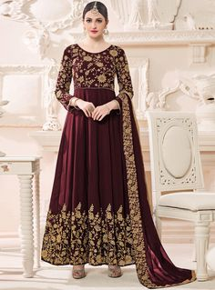 Brown Georgette Long Anarkali Suit 99401
