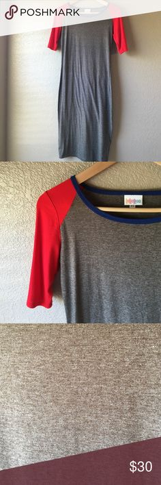 Lularoe Julia baseball sleeve dress Lularoe Julia dress. Size XS. Heathered charcoal dress, red baseball style sleeves and contrasting royal blue trim at neckline. Fabric is stretchy cotton-jersey blend. In excellent condition. LuLaRoe Dresses