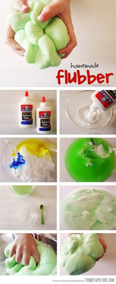 Homemade flubber… You will need 1 1/2 cups warm water 2 cups white glue Food coloring  1 1/3 cups warm water 3 tsp Borax  mixing bowls and spoon This could get messy –so be prepared