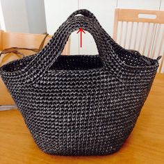 Vinyl string bag, part -Life and work. Crochet Tote, Crochet Handbags, Crochet Purses, Crochet Bag Tutorials, Crochet Patterns, Pouch Pattern, String Bag, Unique Bags, Knitted Bags