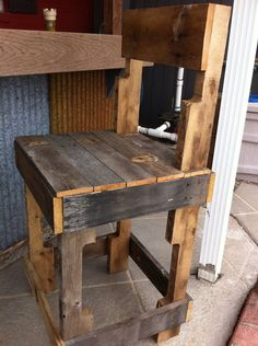 Rustic Bar Stools Or Kitchen Island Stools. Made From Pallets Or Reclaimed Wood