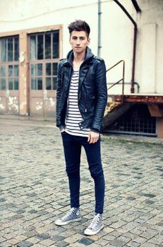 Christoph Schaller - Leather Jacket By Viparo, Top By Weekday, American Apparel Hoodie By, Reedo Jeans, Converse Studded Chucks Men's Fashion, Fashion Outfits, Modern Fashion, Fashion Ideas, Gentleman Style, Well Dressed, American Apparel, Menswear, Street Style