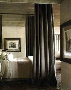 Master bedroom in an Alabama lake house. Designer Susan Ferrier in House Beautiful.  Quiet and serene but I'd rather see vintage type wide plank floors.