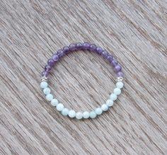 Aquamarine and Amethyst Bracelet  Healing Bracelet  by BBTresors
