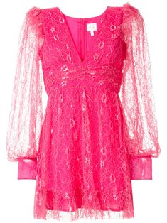 Hot pink Floyd lace mini dress from Alice McCALL featuring a V-neck, long sheer sleeves, a rear zip fastening, a fitted waist, a short length and a ruffled hem.