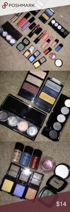 HUGE MAKEUP BUNDLE! Includes NEVER OR LIGHTLY used makeup, but it's ALL DISINFECTED! I have way too much makeup so I'm selling what you all might like! Includes so much NYX, Revlon, Elf, Wet and Wild, and Loreal! 3 eyeshadow palettes, 7 eyeshadow singles, and 6 lipsticks/lip lacquers! Ask questions if you have any! NYX Makeup