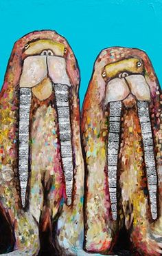 """""""Two Walruses in Turquoise"""" - by Eli Halpin"""