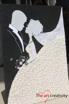 Biglietto di auguri per matrimonio con sposi.