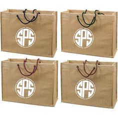 Jute Gift Tote Bags back in-stock.  Perfect for shopping, corporate events, eco branding, the beach, gifts, holidays, weddings, events and more. #jute #totes #jutetotes #branding #logo #wedding #weddingfavors
