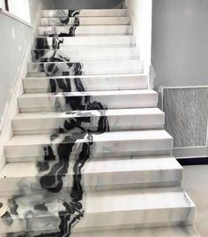 I mean this panda marble stair. So beyond. Marble Staircase, Staircase Design, Luxury Staircase, White Staircase, Marble Columns, Interior Styling, Interior Decorating, Interior Design, Marble Interior
