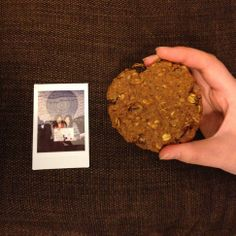 vegan oatmeal cookie by vegan baker Hazel Zhang.  pumpkin cookies with raisins, oats and walnuts in them. Used canola oil, coconut milk, flaxseed meal, agave and brown sugar.