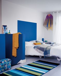 Blue and yellow creates truly uplifting and optimistic combinations which can create the most desirable spaces. Featuring Royal Regatta 2 and Dusted Moss 4 by Dulux. Blue Bedroom, Bedroom Decor, Bedroom Ideas, Dulux Paint Colours, Blue Color Combinations, Modern Interior, Interior Design, Amazing Spaces, Room Colors