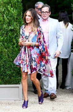 Sarah Jessica Parker Colorful Dress 2017 Street Style