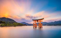 Download imagens Torii, Hiroshima, 4k, Japonês portão, pôr do sol, templo, Japão, Ásia, Santuário De Itsukushima, O Grande Torii, japonês marcos, Miyajima