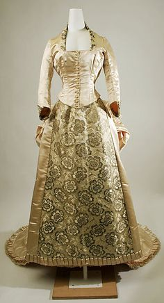 Silk Cream Wedding Gown With Floral Print, American, Early 1870s