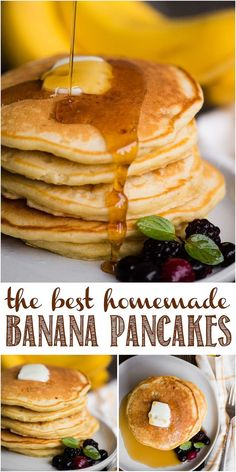 The BEST Homemade Banana Pancakes are fluffy and delicious. This scratch made br The BEST Homemade Banana Pancakes are fluffy and delicious. This scratch made breakfast recipe with mashed banana is easy to make too! Source by afamilyfeast Healthy Breakfast Recipes, Brunch Recipes, Gourmet Recipes, Cooking Recipes, Recipes With Bananas Breakfast, Breakfast Ideas, Def Not, How To Make Breakfast, Savoury Cake