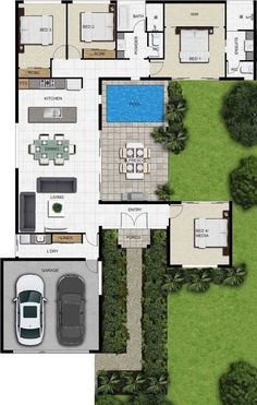House Layout Plans, Dream House Plans, Modern House Plans, Small House Plans, House Layouts, House Floor Plans, L Shaped House Plans, Courtyard House Plans, 3d Architectural Rendering