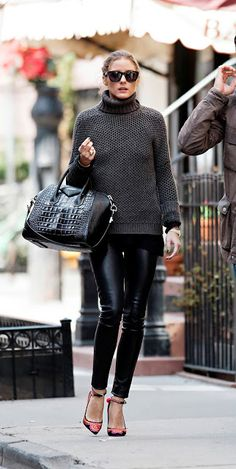 Olivia Palermo in pre-fall essentials. #Leather #pants #Givenchy