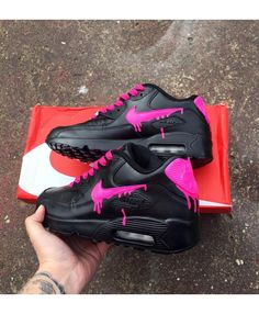 huge selection of dde3d ef048 Cheap Nike Air Max 90 Candy Drip Womens Trainers In Black Neon Pink Nike  Air Max