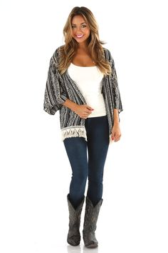 A Day In The Life Cardigan: Black/Cream