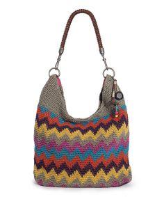 Gray & Yellow Monterrey Stripe Crochet Bennett Hobo
