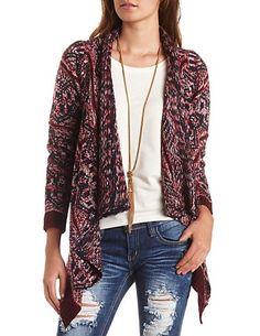 Marled Geometric Cascade Cardigan Sweater: Charlotte Russe #charlottelook